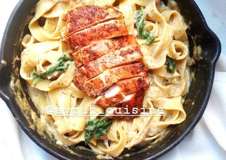 Recipe of Ultimate Chicken fettuccine pasta in white sauce