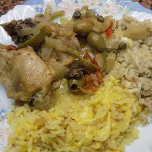 Pollo a la Siciliana con cebada y arroz