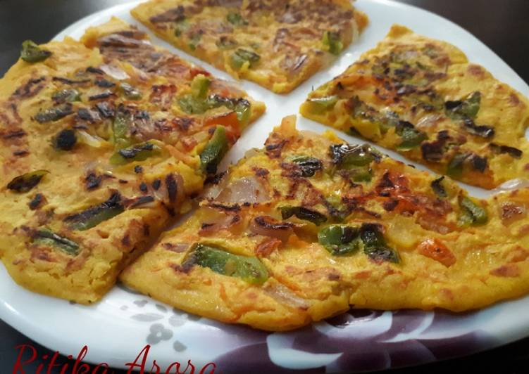 Vegatable Savoury Pancakes (using Chickpea flour)/ Besan Pudas