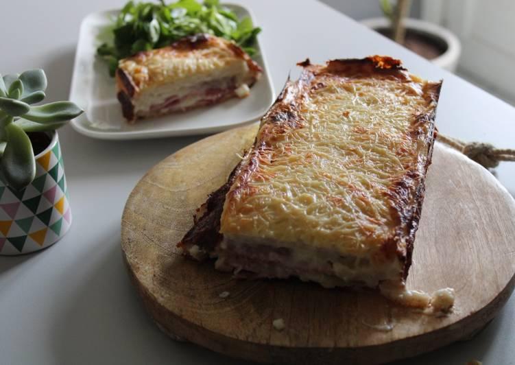 Recipe: Delicious Croque-cake au jambon et fromage