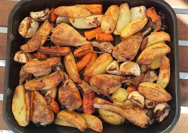 Pilons de poulet aux légumes au four
