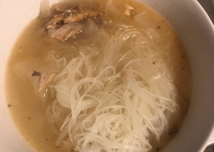 Recipe of Ultimate Turkey bone broth with rice noodles