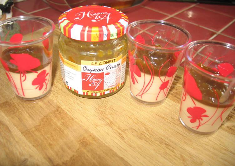 Comment faire Faire Délicieuse Panna cota foie gras et confit d'oignon au curry