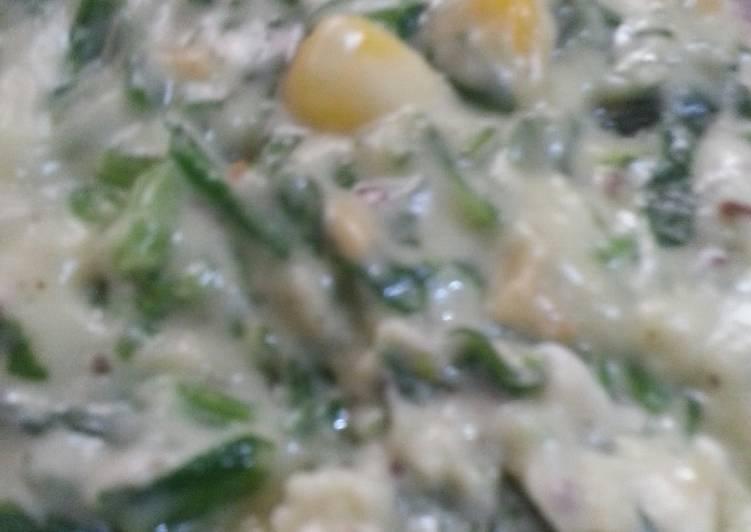 Easiest Way to Make Most Popular Palak paneer corn in cheese sauce