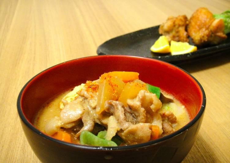Tonjiru : A miso based pork soup filled with vegetables