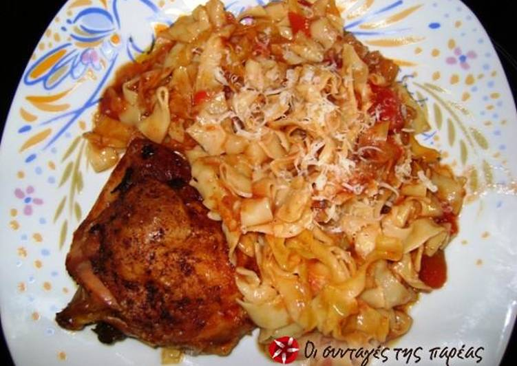 Chicken with hilopites in the oven