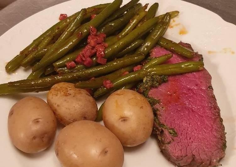 Roastbeef mit Speckböhnchen und Kartoffeln