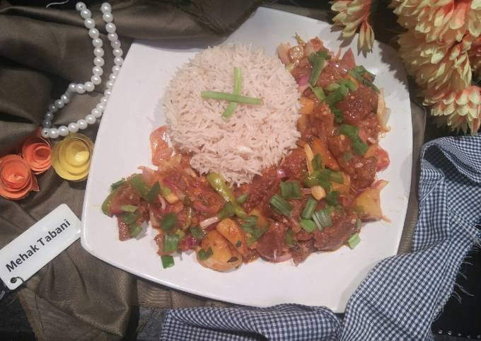 Sweet And Sour Beef Chilli Dry With Garlic Rice