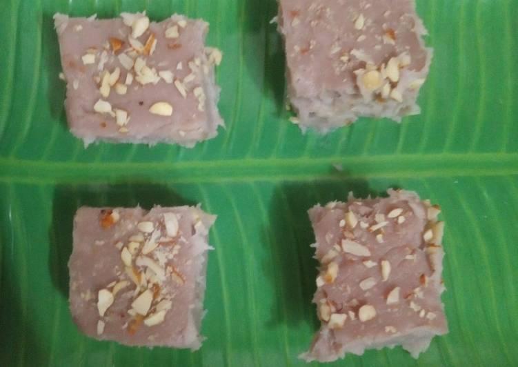 Recipe: Delicious Purple Yam barfi dessert