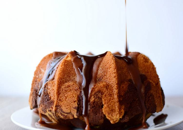 Marble Cake with Double Chocolate topping