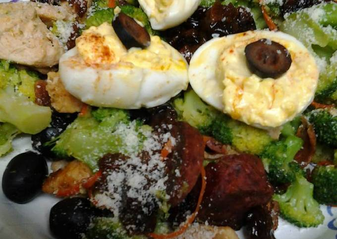 Buttery broccoli salad topped with deviled eggs