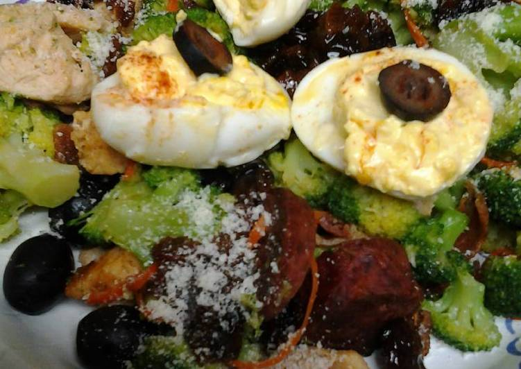 Step-by-Step Guide to Prepare Speedy Buttery broccoli salad topped with deviled eggs