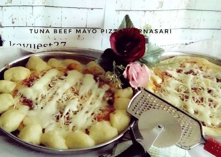 Tuna beef mayo pizza cheesy bite (pizza tanpa ulen)