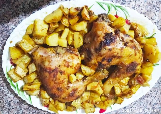 Cuisses de poulet et pomme de terre grillées au four