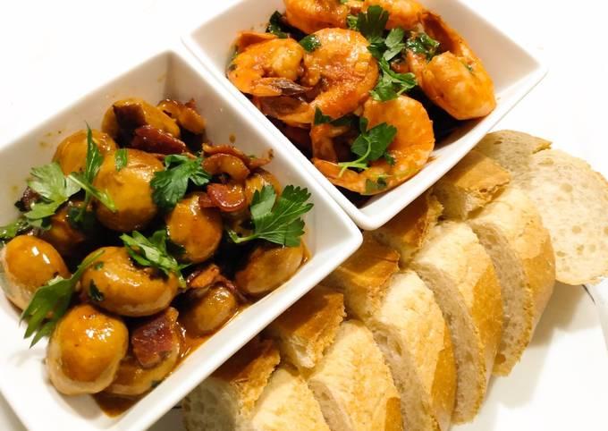 Tapas x 2: garlic and ham mushrooms & spicy prawns