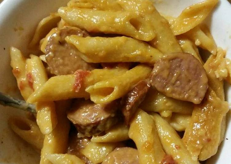 Recipe of Quick Cheesy one pot smoked sausage pasta