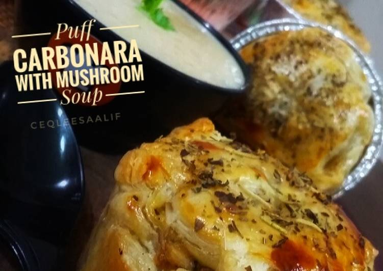 Puff Carbonara with Mushroom Soup#FayeKusairi - velavinkabakery.com