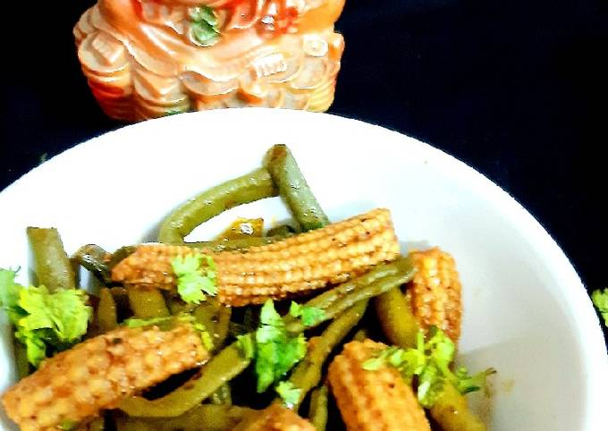 Spicy French Beans & Baby Corn Stir Fry
