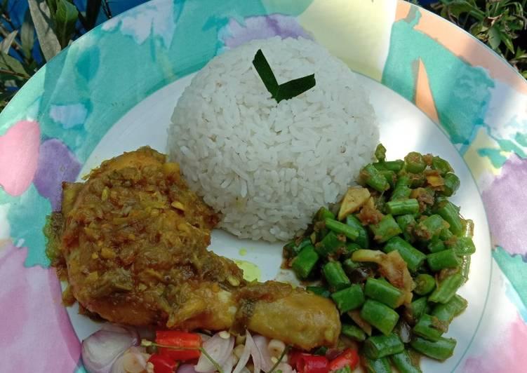 Nasi Bali (betutu + lawar buncis + sambal matah)