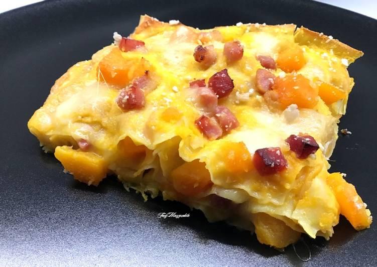 Ricetta Lasagne con zucca, speck e finta besciamella di crema di zucca e robiola