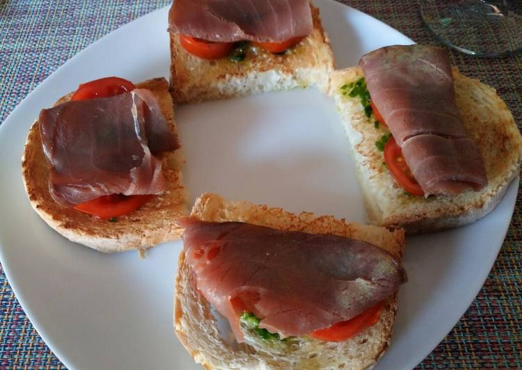 Bruschetta with salsa verde and smoked tuna