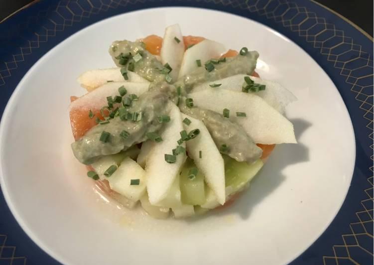 Les Meilleures Recettes de Fraîcheur de saumon et pomme verte 🍏
