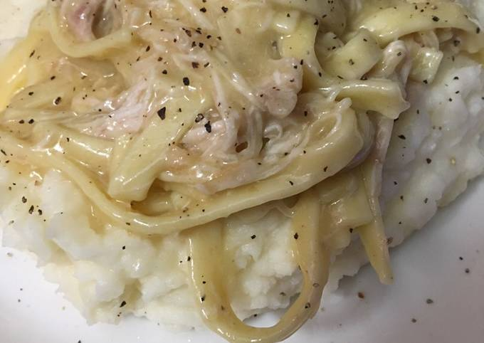 Cream of chicken noodle over mashed potatoes #mycookbook