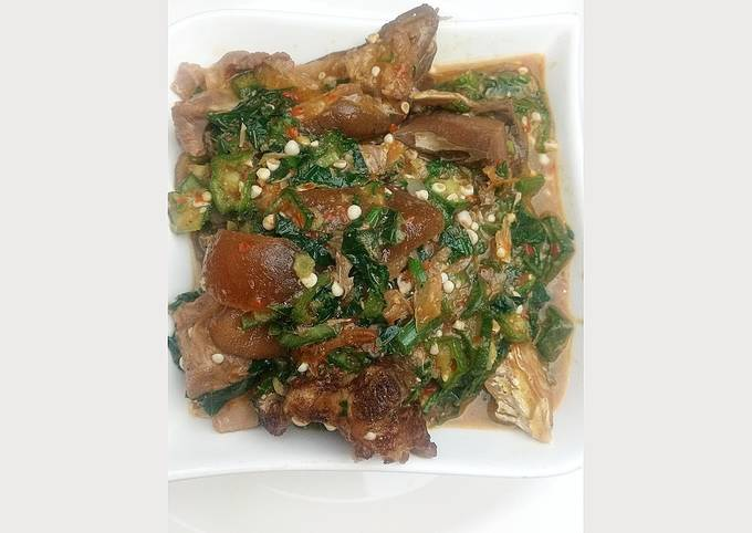 Okro soup with goat meat