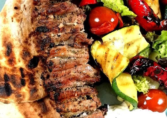 Lamb Souvlaki with grilled vegetables salad and tzatziki sauce
