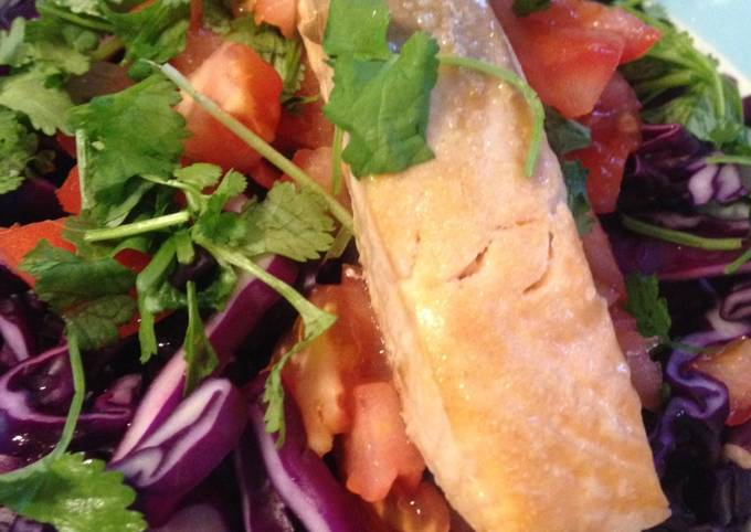 Oven-Roasted Salmon and Red Cabbage Salad