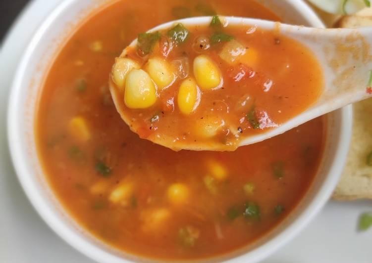 Basil corn tomato soup