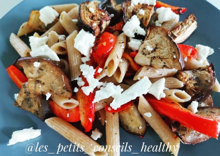 Pâtes complètes et ses légumes grillés