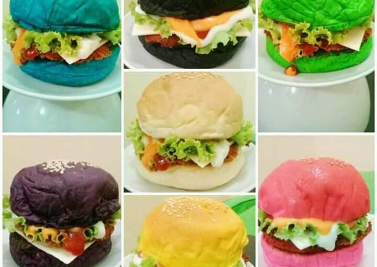 Burger pelangi untuk jualan
