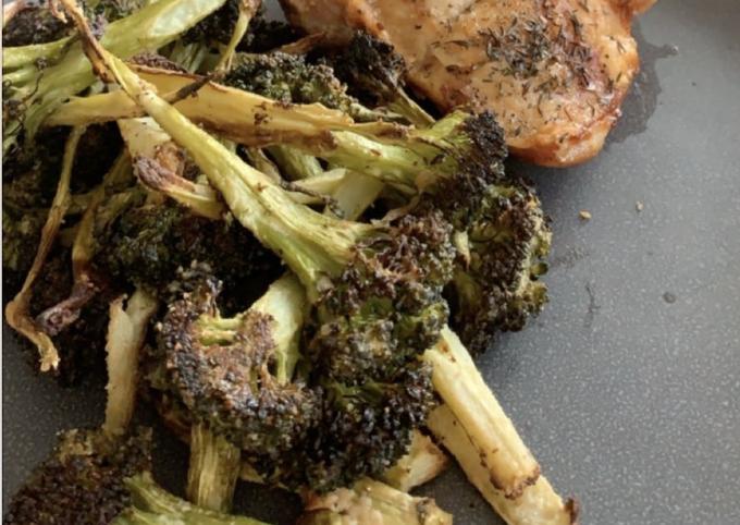 Roasted tahini broccoli