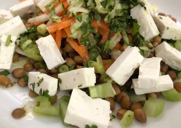 Lentil, Feta and Veg salad