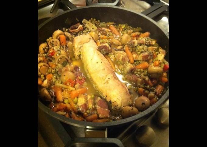 Filet mignon aux lardons et minis légumes