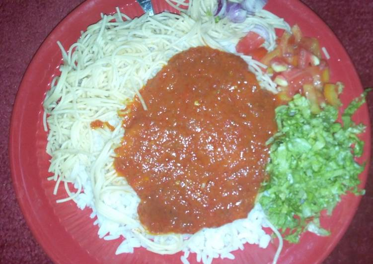 Recipe: Tasty Rice stew and salad with super gatte