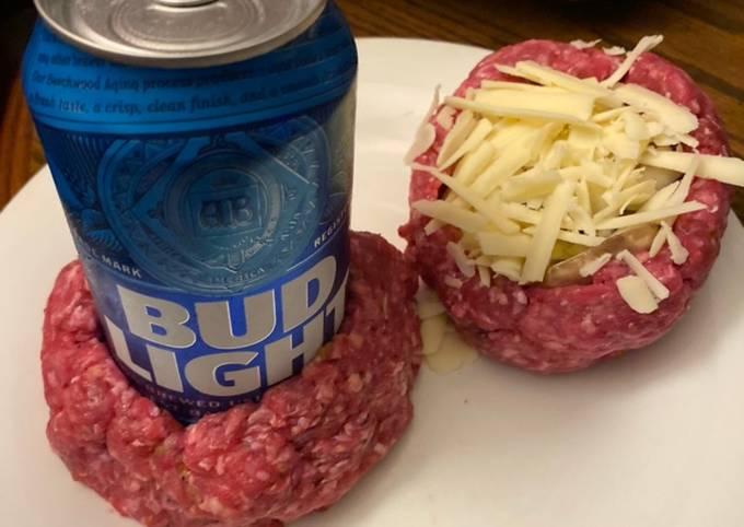 Air Fryer beer bottle stuffed bacon burgers