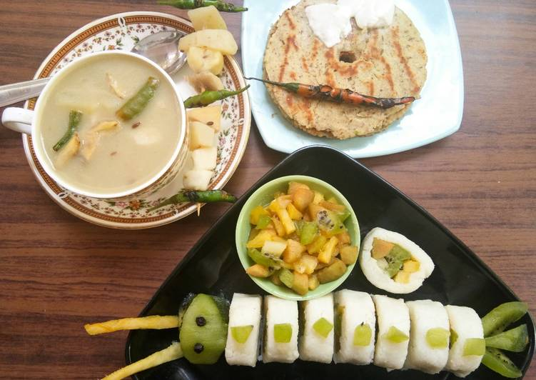 5-Root vegetable soup, Jack fruit seed Thalipeeth, Frushi with salad