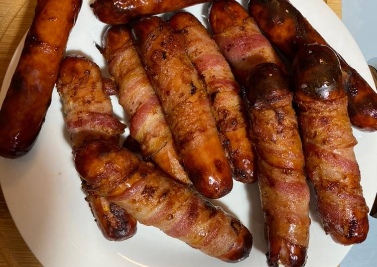Recipe of Speedy Bacon wrapped cheddar Brats