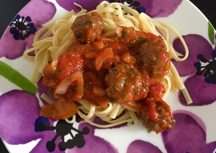 Steps to Prepare Super Quick Homemade Meaty Spaghetti-Linguine