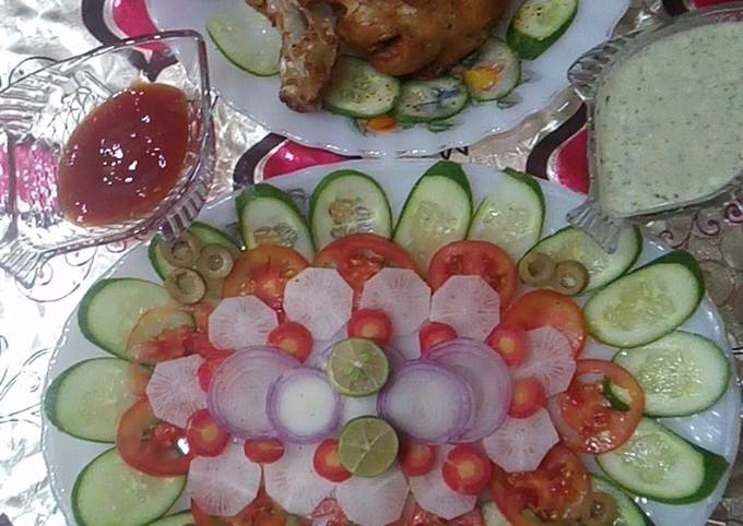 SpiCy chkN LeG with healtHy Salad🥗