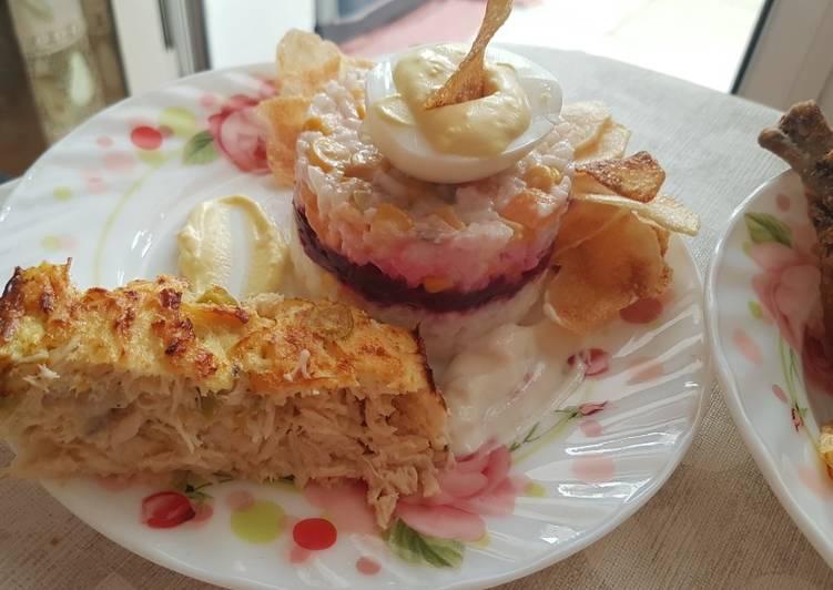 Recette Savoureux Salade variée pour l'été accompagné avec un cake salé