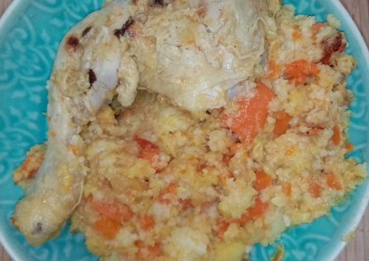 Poulet au piment et semoule aux légumes épicés