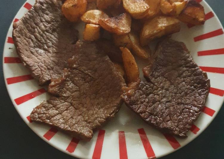 Recipe of Super Quick Homemade Lazy Steak and Chips