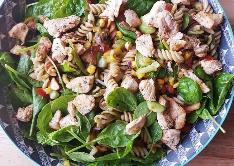 Salade de fusilli poulet et épinard