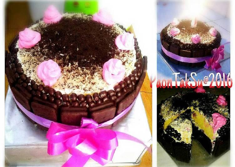 Steam Cake Anniv Sederhana (Cheese+Coklat Cake)