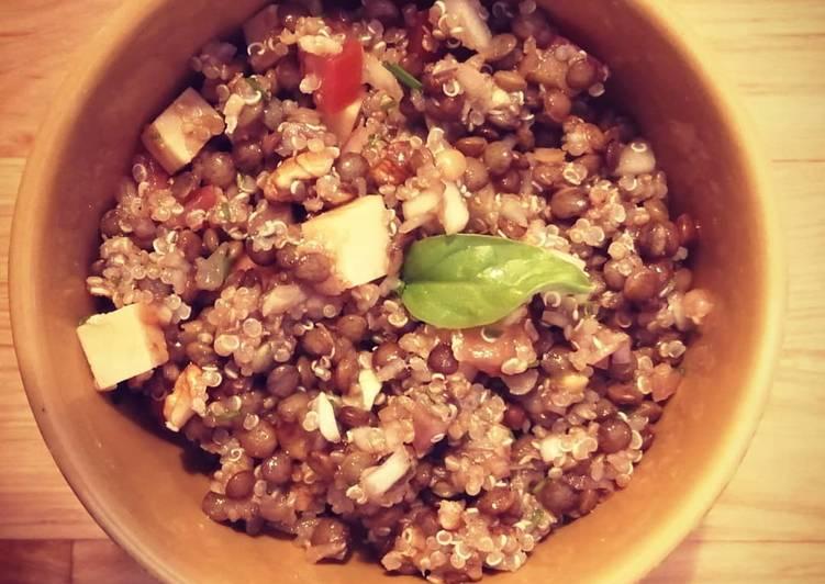 🌿Salade végétarienne Quinoa lentilles vertes🌿
