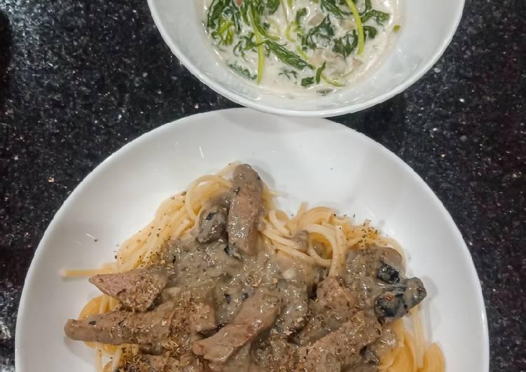 Beef Stroganoff + Pasta