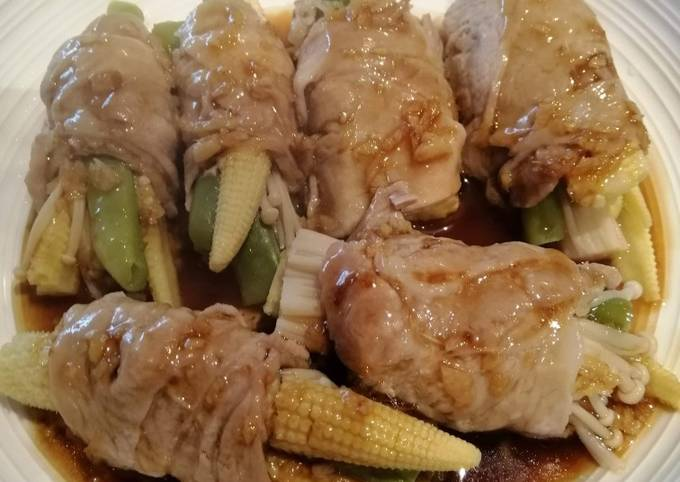 Pork roll stuffed with Veggies